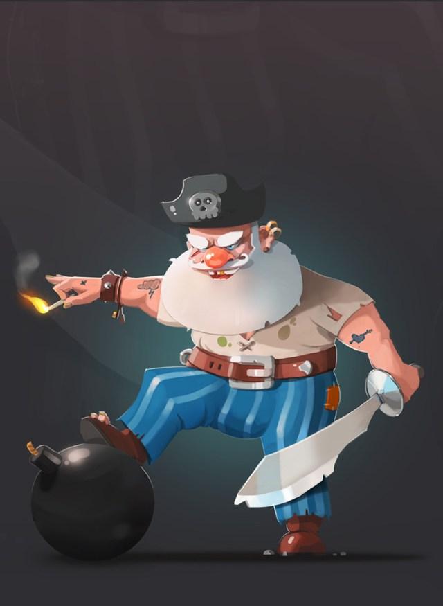 pirate hoary gray-haired bomb sword art illustration
