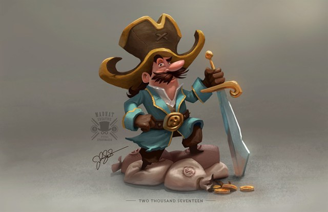 pirate moustaches sword treasure character art