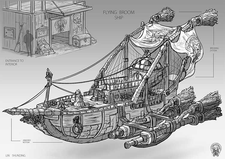 flying ship concept art structure