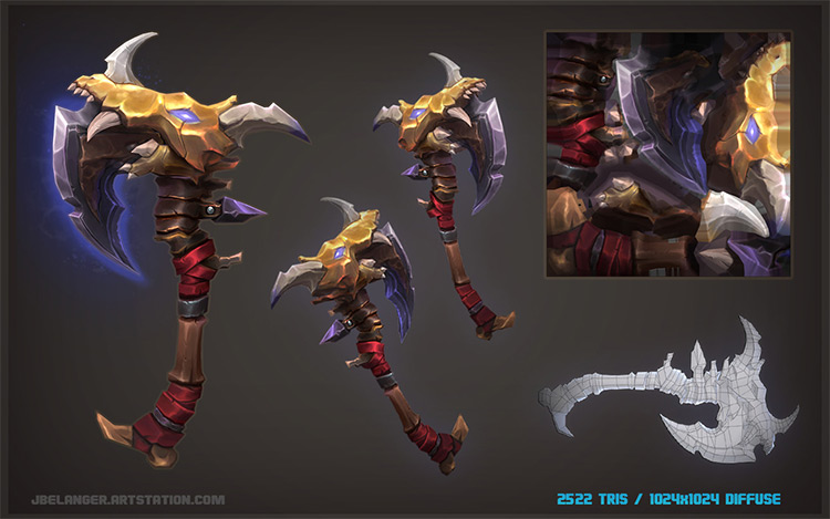 dragon skull battle axe concept