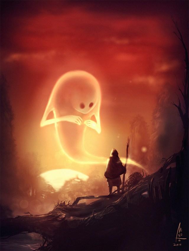 Summoning a ghost creature artwork