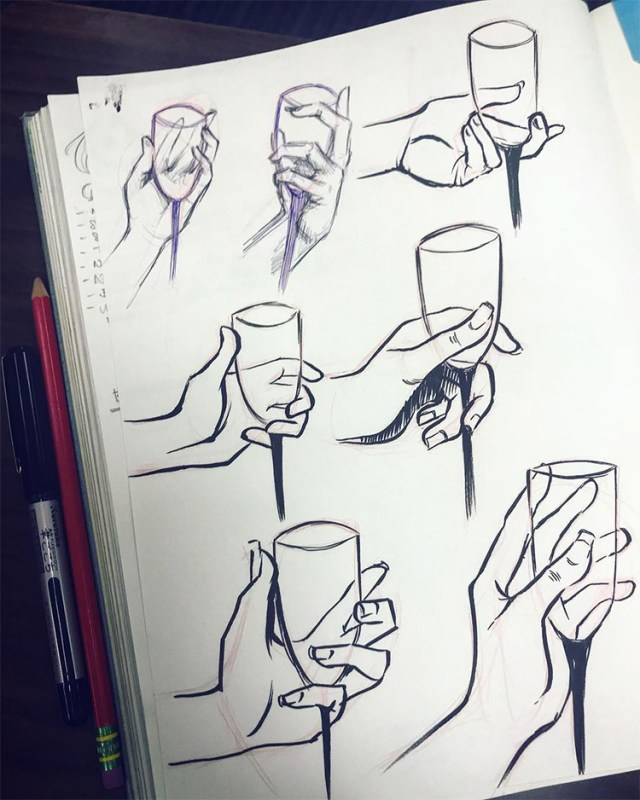 Drawing hands holding wine glasses
