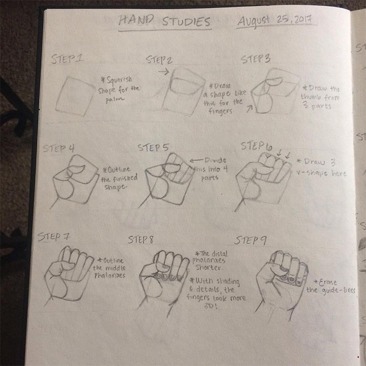 Clear step-by-step hand studies