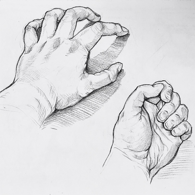 Top and bottom of hand drawing