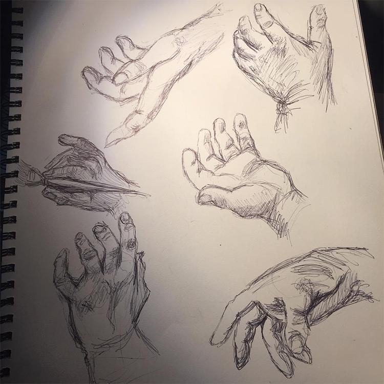Rough quick sketch hands
