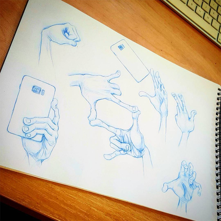 Clean cartoony illustration drawings of hands