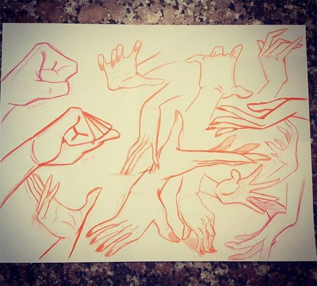 Hand outlines in various poses