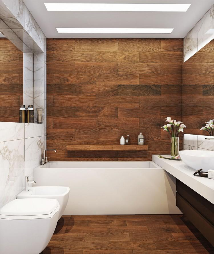 Photos De Salle De Bains Carrelage Mural Sol Imitation Bois Marbre Blanc Concept Bain