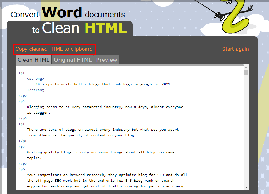 Convert Word Documents to Clean HTML