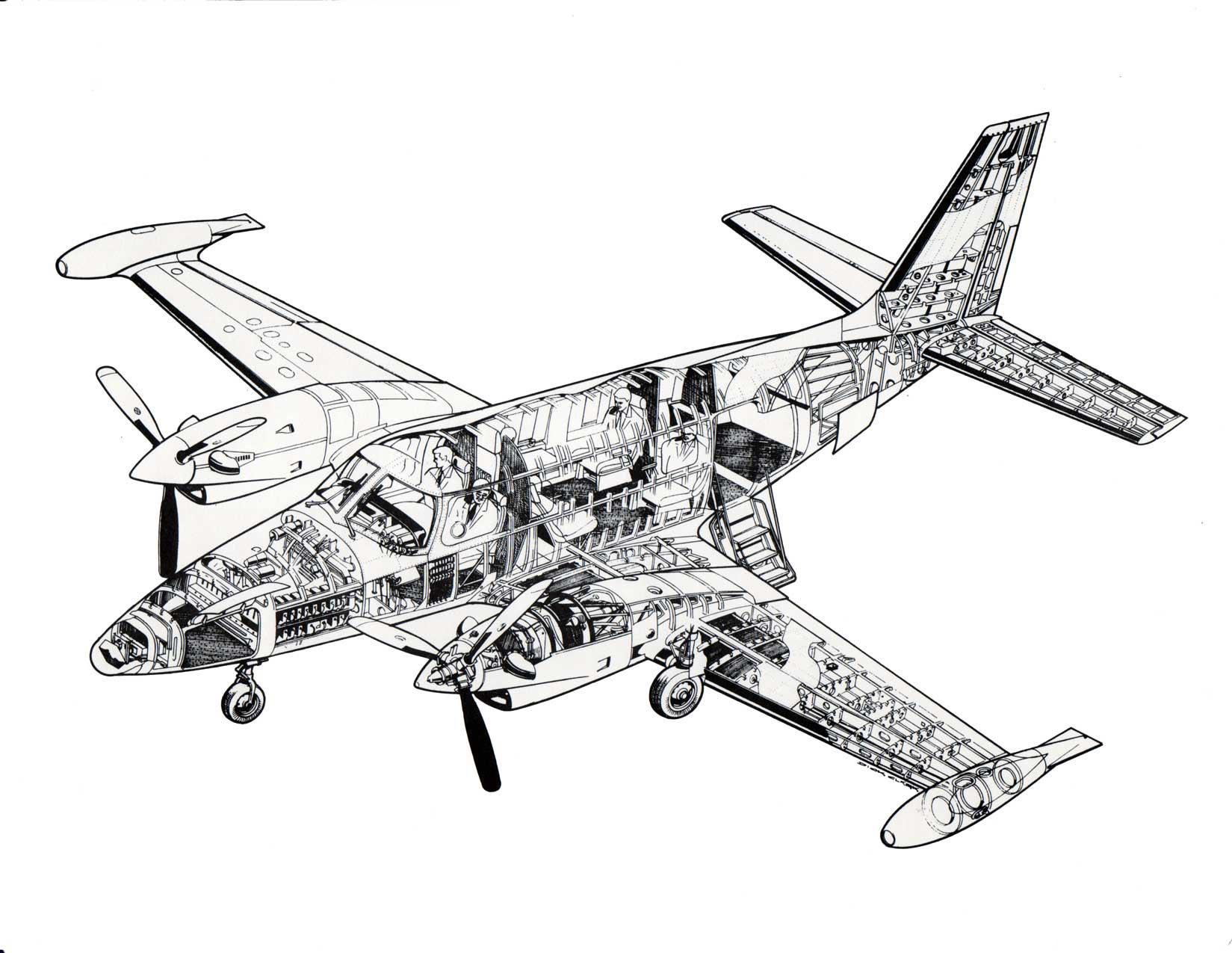 Piper Pa 31t Cheyenne Cutaway Drawing In High Quality