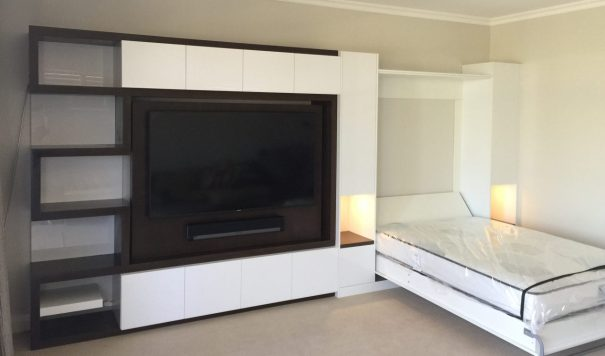 Custom gloss, venner tv unit with pull down bed in dalkeith