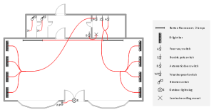 Lighting and switch layout | Design elements  Electrical and tele | Cafe electrical floor