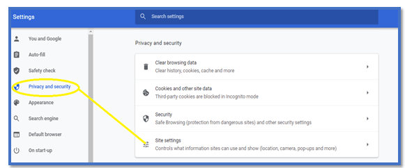 Privacy settings in chrome