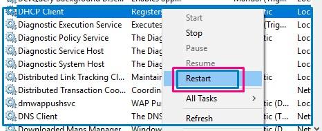 DHCP Client restart