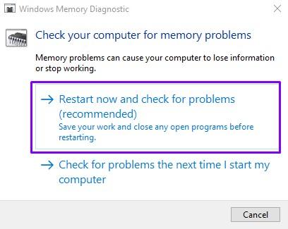Restart Your computer Memory Diagnostics