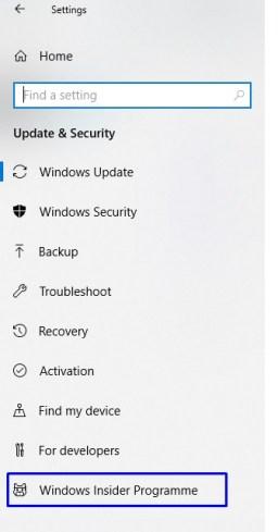 Windows Insider Programme