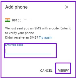 Add Code and Click on Verify