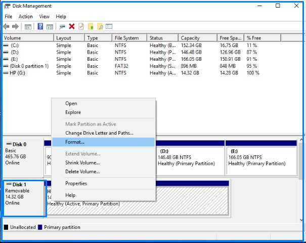 Format screen using Disk management