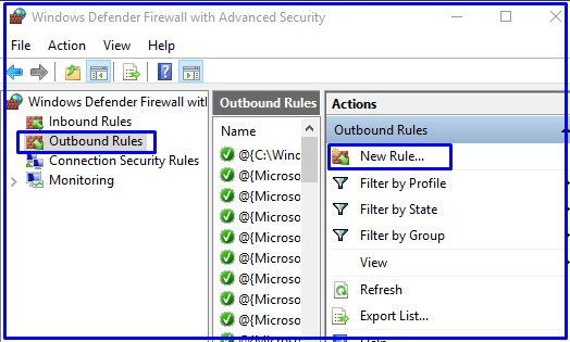 Outbond rules for windows defender