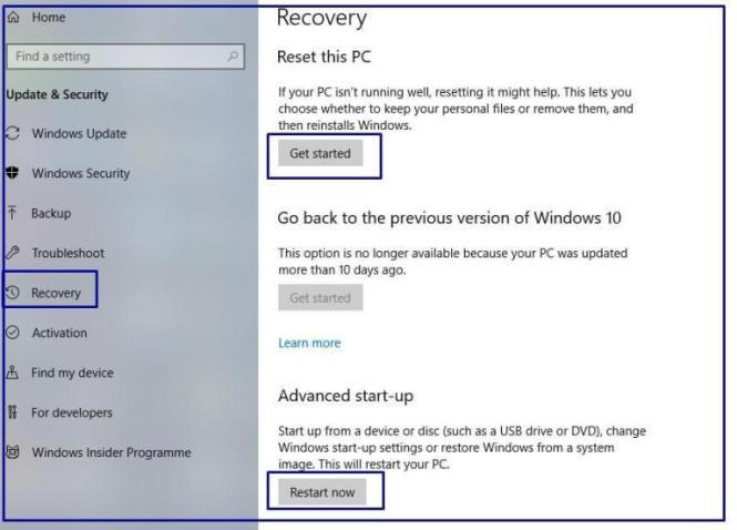 Recovery-Windows on Windows 10