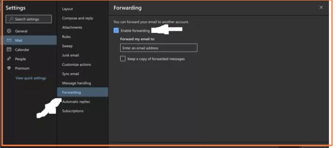 Forwarding settings outlook