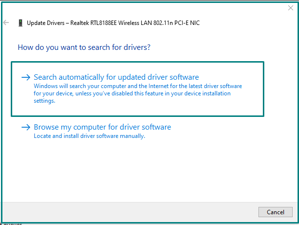 Search automatically Network adapter driver