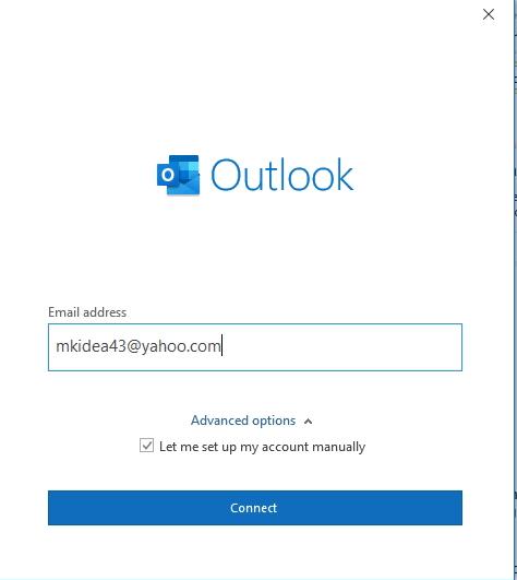yahoo configure on outlook using manual method