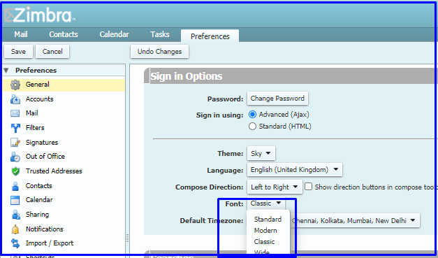 change font in Zimbra Mail