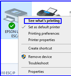 Right click on Printer and select see what printing of Epson Printer