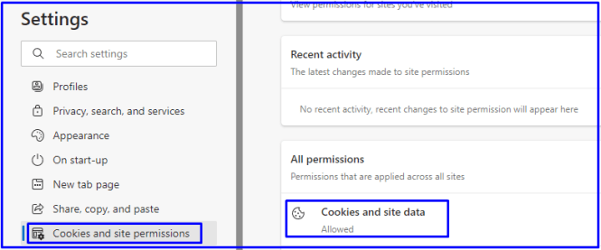 cookies and site permissions