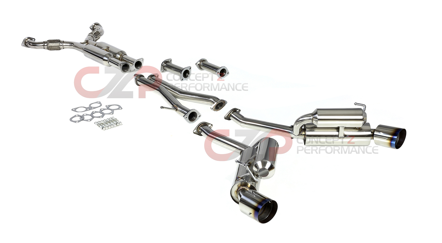 Dna Motoring True Dual Catback Exhaust System W Burnt