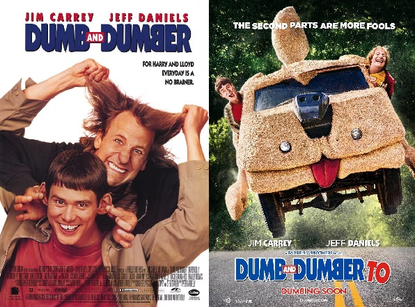 Dumb and Dumber [1994] vs Dumb and Dumber To [2014] cover poster