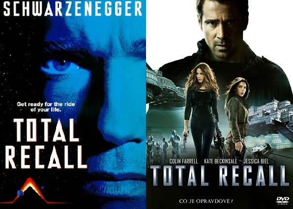 Total Recall [1990] vs Total Recall [2012] cover poster