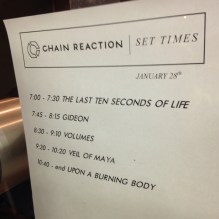 Set times for the night