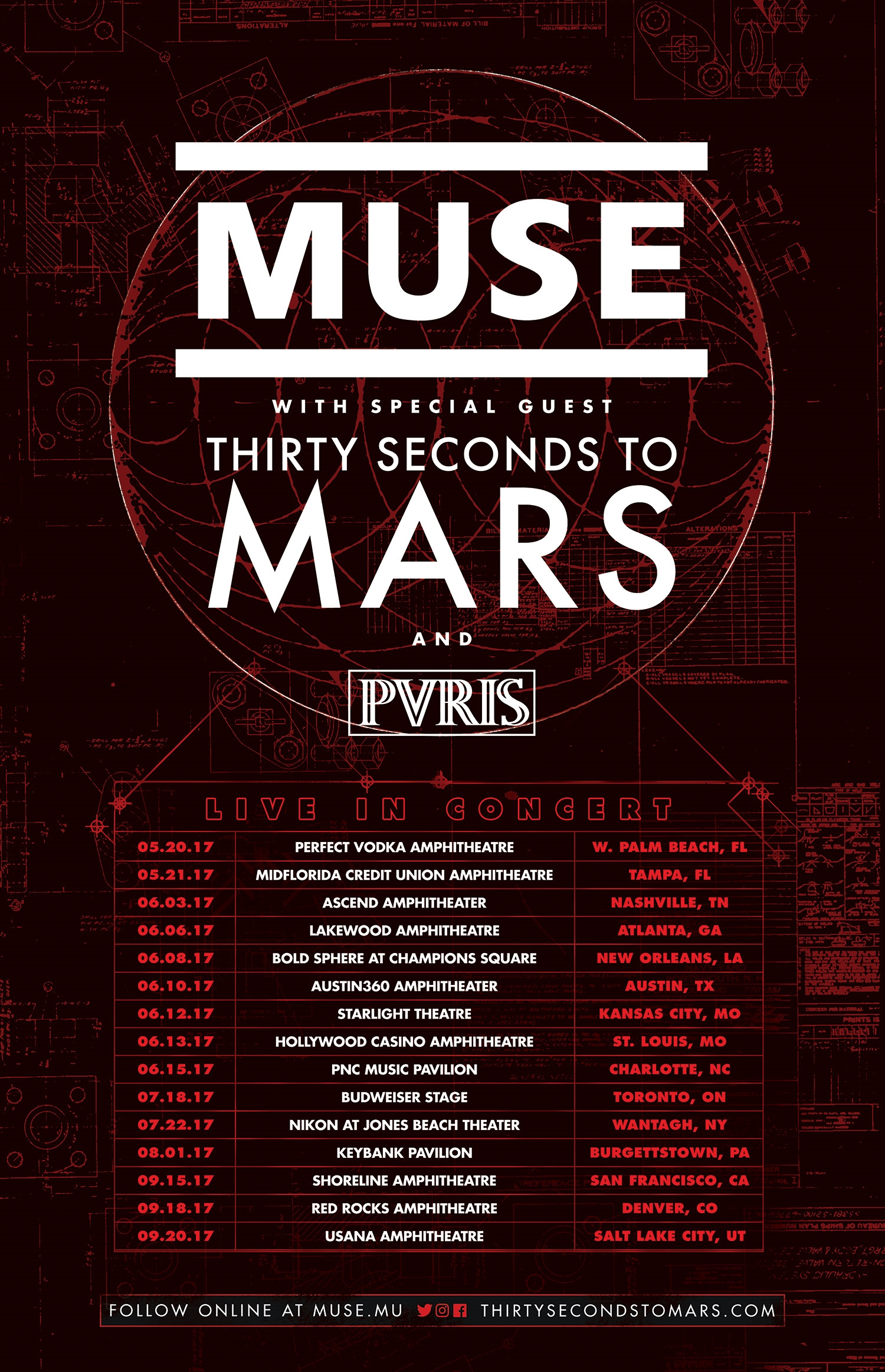 Tour announcement muse 30 seconds to mars pvris muse 30 seconds to mars and pvris announced 2017 tour dates together over many months they will be spread out over many months with more possibly to be m4hsunfo
