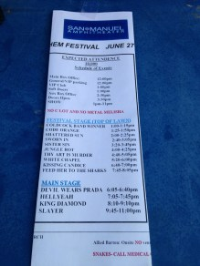Set times for the day