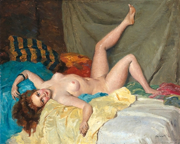Weiblicher Akt am Sofa