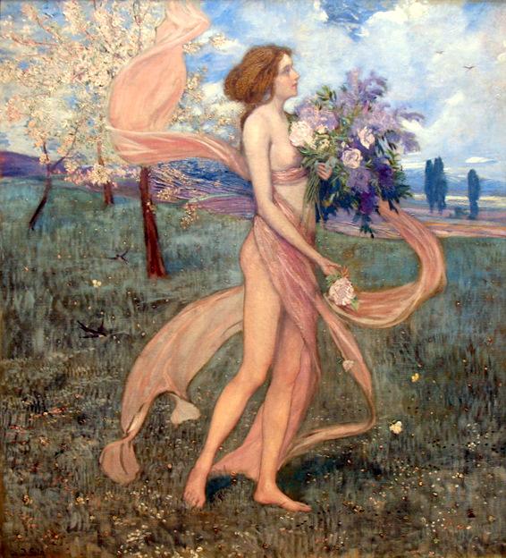 Fruhling (Girl Among Blossoming Trees)