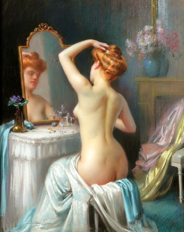 A Nude Seated At A Dressing Table