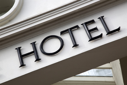 Hotel Sign on Building Facade