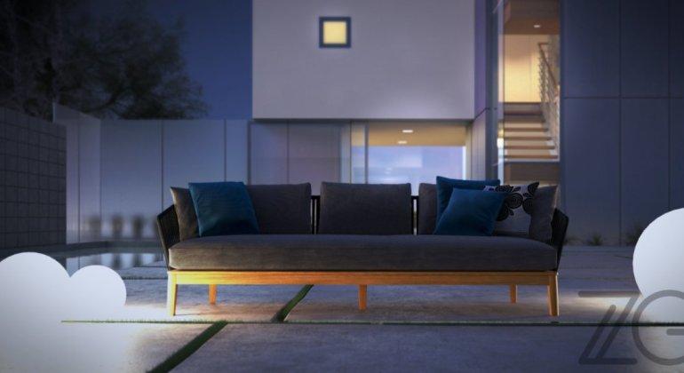 Menos es más, ambiente minimalista y sencillo de un sofá en el exterior de un chalet, rodeados de sencillas lámparas en forma de bola