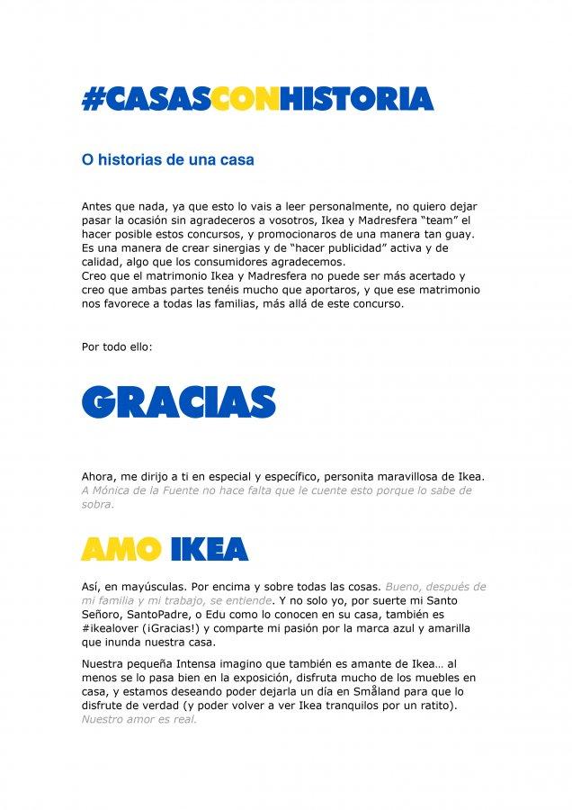 Extracto de la carta de amor para Ikea y Madresfera, como propuesta al concurso CasasConHistoria, pagina 1