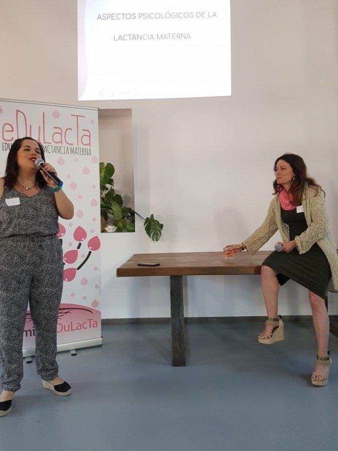 Ruth y Pilar inaugurando en la I jornada de lactancia materna de Edulacta