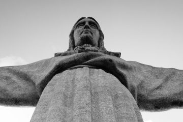 The statue of Jesus at the Sanctuary of Christ the King, outside of Lisbon.
