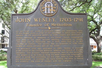 Image of a plaque about John Wesley from Savannah, GA