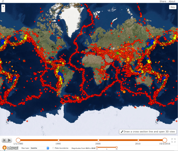 In Seismic Explorer, students can see patterns of earthquake data, including magnitude, depth, location, and frequency.