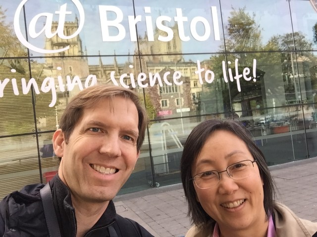 Chad Dorsey and Sherry Hsi at the entrance of At-Bristol Science Center.