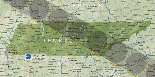 Tennessee totality map