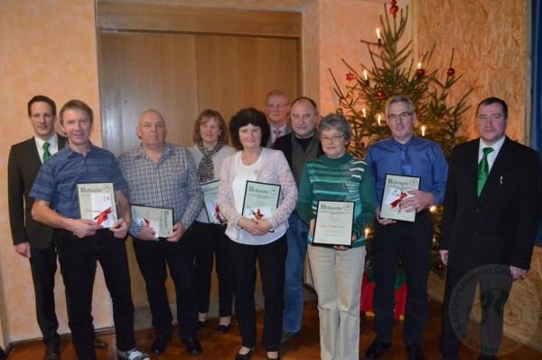 Für 40 Jahre Mitgliedschaft bei der Concordia Merkendorf wurde diese Gruppe geehrt