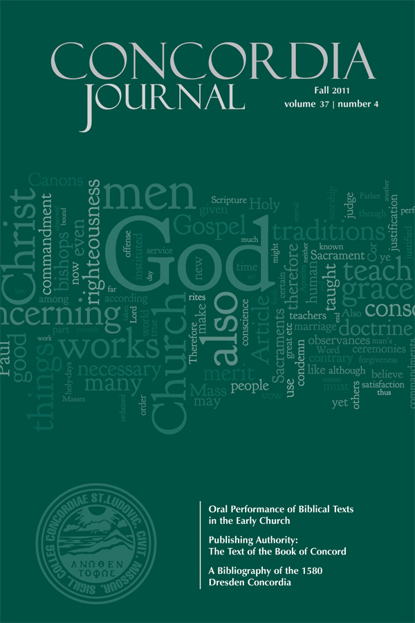 Fall 2011 CONCORDIA JOURNAL sneak peek